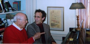 "Carl Reiner with Paul discussing the one-act Salerni opera ""The Life and Love of Joe Coogan""  adapted from a Dick Van Dyke Show TV script that was written by Mr. Reiner. (2008)"